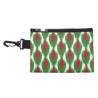 Christmas Red Green Tribal Ikat Diamond Pattern Accessory Bag