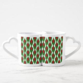 Christmas Red Green Tribal Ikat Diamond Pattern Coffee Mug Set
