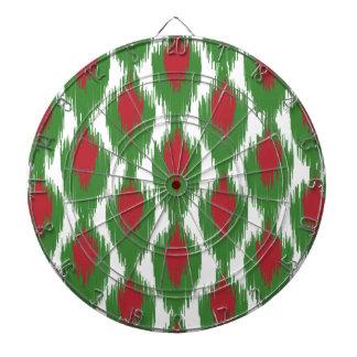 Christmas Red Green Tribal Ikat Diamond Pattern Dartboards
