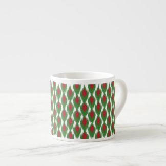 Christmas Red Green Tribal Ikat Diamond Pattern Espresso Cup