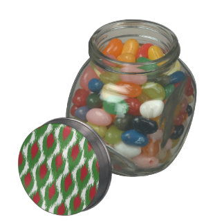 Christmas Red Green Tribal Ikat Diamond Pattern Jelly Belly Candy Jar