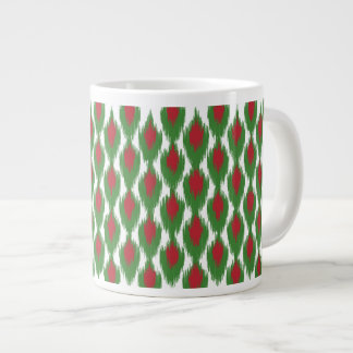 Christmas Red Green Tribal Ikat Diamond Pattern Large Coffee Mug