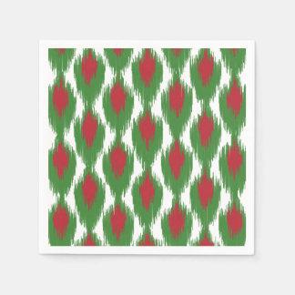 Christmas Red Green Tribal Ikat Diamond Pattern Disposable Napkin