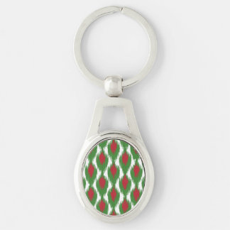 Christmas Red Green Tribal Ikat Diamond Pattern Silver-Colored Oval Metal Keychain
