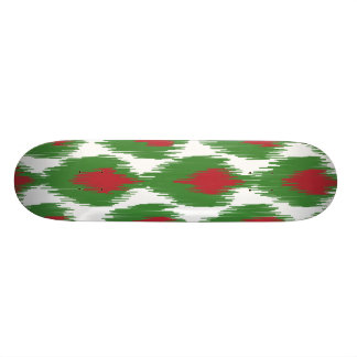 Christmas Red Green Tribal Ikat Diamond Pattern Skateboard Deck