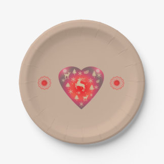 Christmas Red Heart Deco Paper Plate