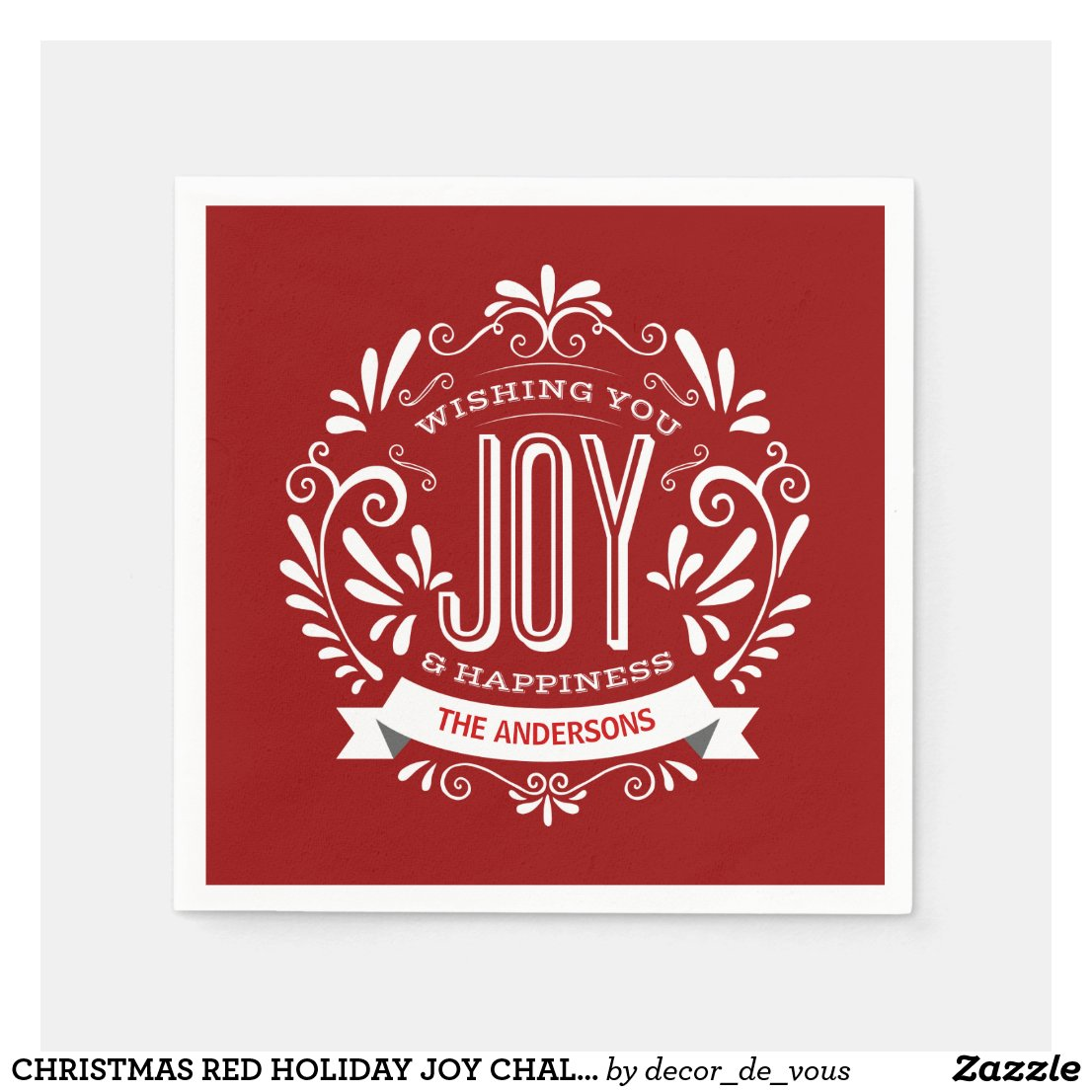 CHRISTMAS RED HOLIDAY JOY CHALKBOARD PERSONALIZED NAPKIN