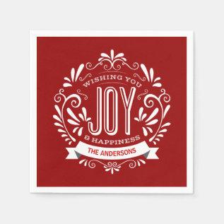Christmas Red Holiday Joy Chalkboard Personalized Napkin at Zazzle