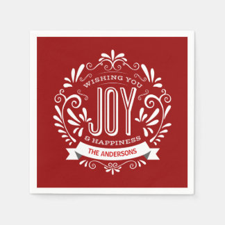 CHRISTMAS RED HOLIDAY JOY CHALKBOARD PERSONALIZED NAPKIN