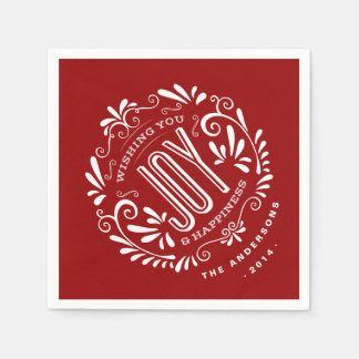 CHRISTMAS RED HOLIDAY JOY CHALKBOARD PERSONALIZED STANDARD COCKTAIL NAPKIN