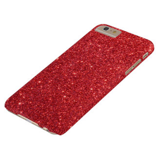 Christmas Red Holly Glitter Barely There iPhone 6 Plus Case