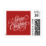 Christmas Red Merry Christmas Postage Stamp