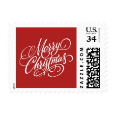 Christmas Red Merry Christmas Postage Stamp at Zazzle