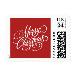 Christmas Red Merry Christmas Postage Stamp