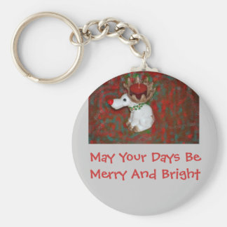 Christmas Red Nose Reindeer Moose Keychain