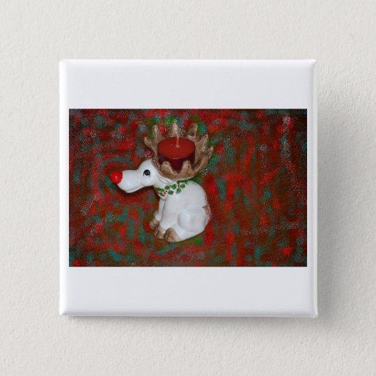Christmas Red Nose Reindeer Moose Pinback Button