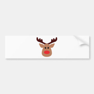 Christmas Red Nosed Reindeer Car Bumper Sticker