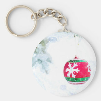 Christmas red ornament pine white snow keychain
