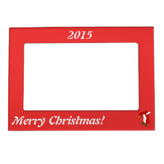 Christmas Red Penguin with Green Ice Skates Magnetic Photo Frame
