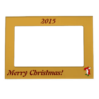 Christmas Red Penguin with Green Ice Skates Magnetic Picture Frame