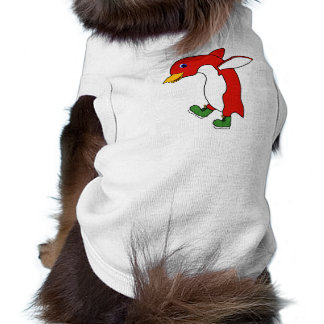 Christmas Red Penguin with Green Ice Skates Shirt