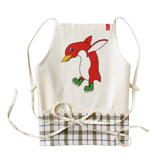 Christmas Red Penguin with Green Ice Skates Zazzle HEART Apron
