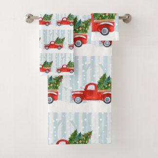 Christmas Red PickUp Truck on a Snowy Road Bath Towel Set