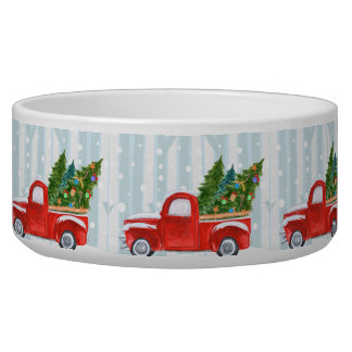 Christmas Red PickUp Truck on a Snowy Road Bowl