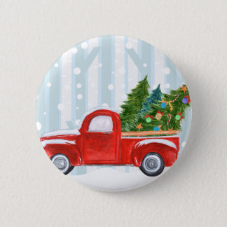 Christmas Red PickUp Truck on a Snowy Road Button