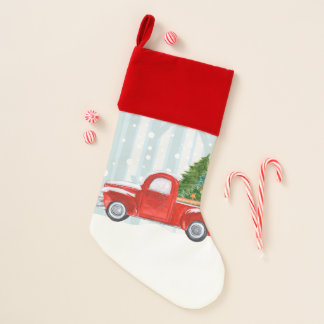 Christmas Red PickUp Truck on a Snowy Road Christmas Stocking