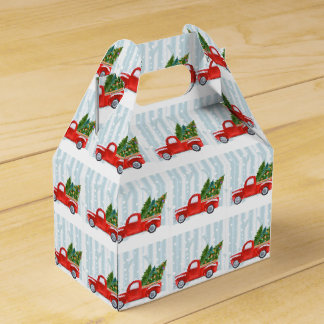 Christmas Red PickUp Truck on a Snowy Road Favor Box