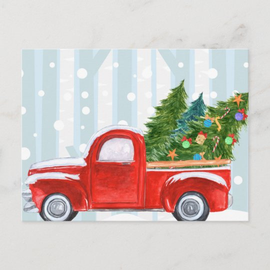 Old Red Truck With Christmas Tree In Back.Christmas Red Pickup Truck On A Snowy Road Holiday Postcard