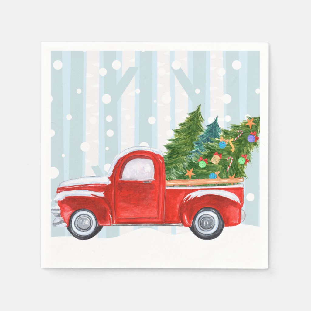Christmas Red PickUp Truck on a Snowy Road Napkin