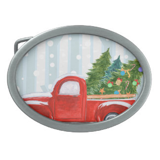 Christmas Red PickUp Truck on a Snowy Road Oval Belt Buckle