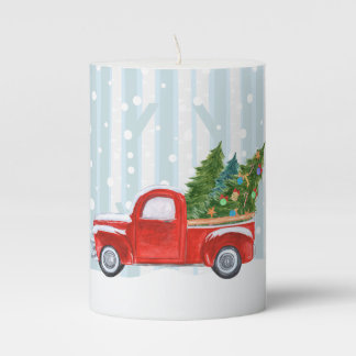 Christmas Red PickUp Truck on a Snowy Road Pillar Candle