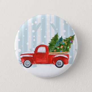 Christmas Red PickUp Truck on a Snowy Road Pinback Button