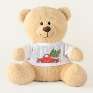 Christmas Red PickUp Truck on a Snowy Road Teddy Bear