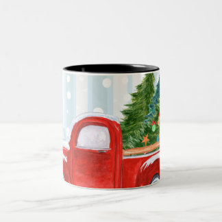 Christmas Red PickUp Truck on a Snowy Road Two-Tone Coffee Mug