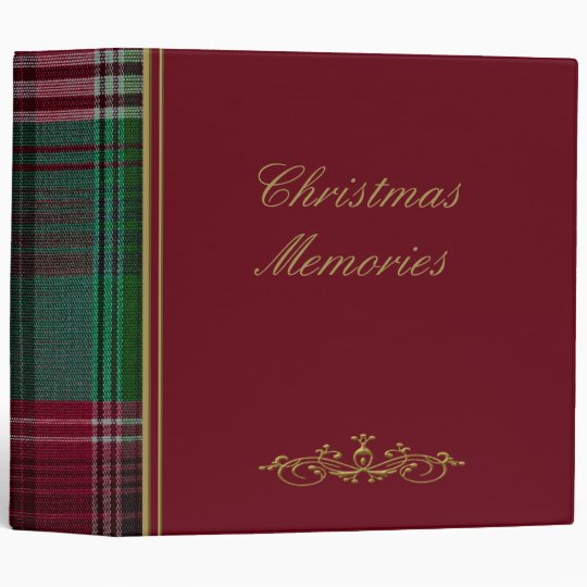 "Christmas Red Plaid 2"" Photo Album 3 Ring Binder"