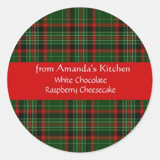Christmas, Red Plaid, Custom, Holiday Stickers