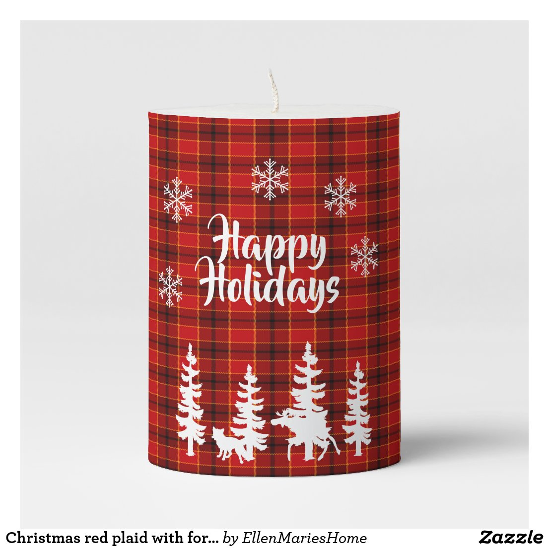 Christmas red plaid with forest animal silhouettes