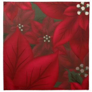 christmas red poinsettia cloth napkin - Christmas Napkins Cloth