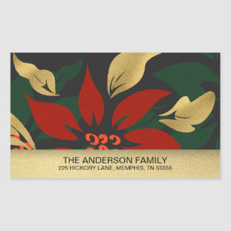 Christmas Red Poinsettia Flocked Return Address Rectangular Sticker