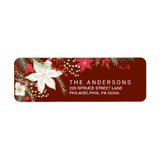 Christmas Red Poinsettia & Pine Return Address Label
