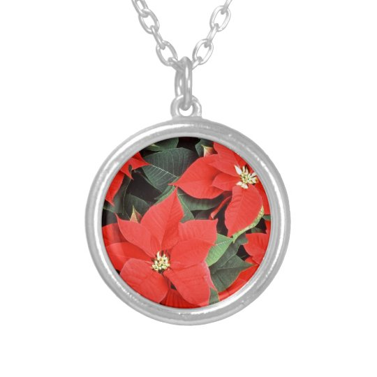 Christmas Red Poinsettia Plants Silver Plated Necklace