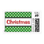 Christmas Red Polka Dot Green Postage Stamps