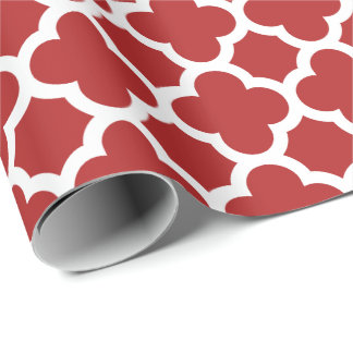 Christmas Red Quatrefoil Trellis Pattern Wrapping Paper
