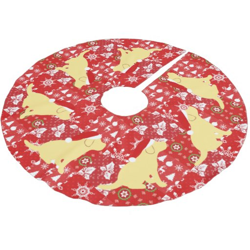 Christmas Red Quilt Yellow Labrador Puppies Brushed Polyester Tree Skirt