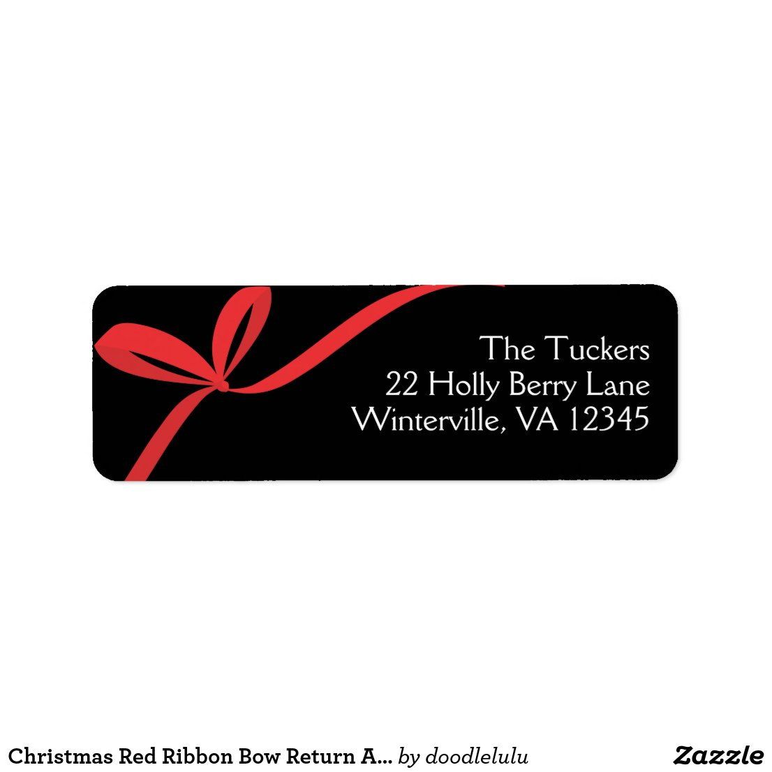Christmas Red Ribbon Bow Return Address Label