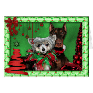 Christmas - Red Ribbon Tree - Doberman Crestie Greeting Card